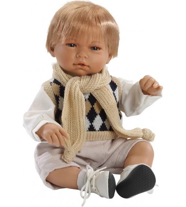 Muñeco Samuel, con pantalón de pana y chaleco rombos