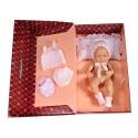 Muñeca recién nacida, gorro, camiseta,braguitas y peucos de lana