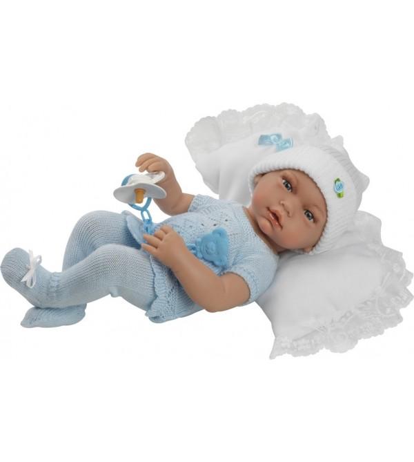 Muñeco recién nacido, jersey y polaina azul con gorro