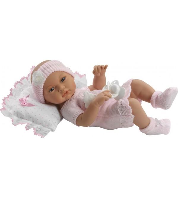 Muñeca recién nacida, vestido de perlé rosa