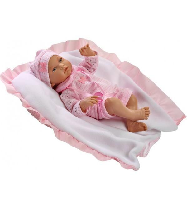 Muñeca Alba, traje y mantita rosa de lana