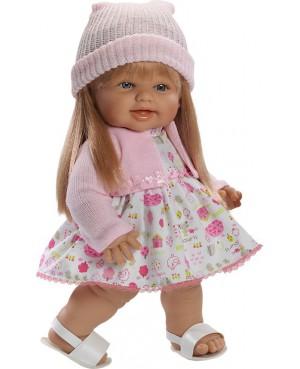 Muñeca Helen, vestido blanco con motivos y chaqueta rosa