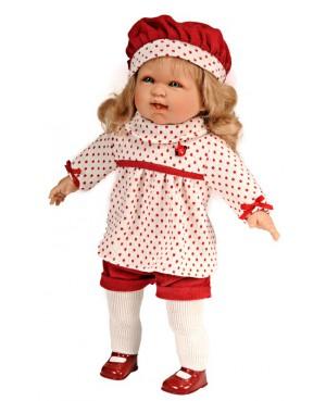 Muñeca Leonor con pantalón corto, jersey y boina roja