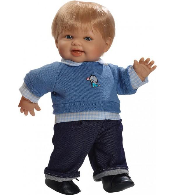 Muñeco Álex, pantalón vaquero y jersey de lana azul con camisa