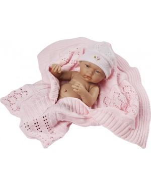 Muñeca recién nacida, con gorro y mantita de lana rosa