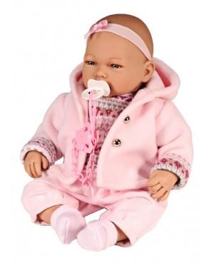 Muñeca Alba, pantalón de pana, jersey y chaqueta rosa