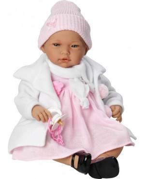 Muñeca Nadia, vestido rosa y abrigo blanco con gorro.
