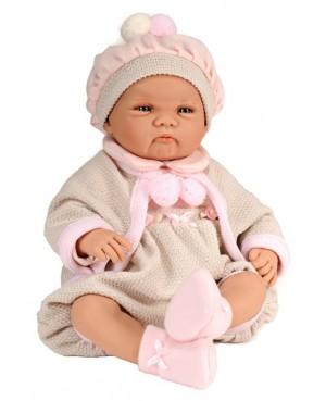 Muñeca Elsa, traje beig y rosa con capa y gorro