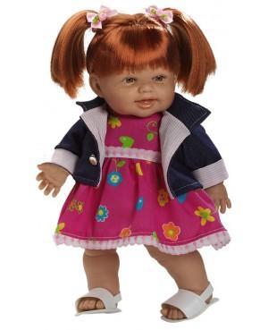 Muñeca Helen pelirroja, vestido fucsia y chaqueta vaquera
