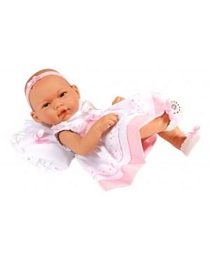 Muñeco recién nacida, vestido blanco con chaqueta rosa