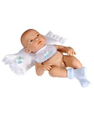 Muñeco recién nacido, gorro,camiseta,braguitas y peucos de lana