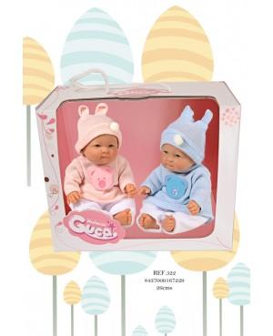 Parejita de muñecos recién nacidos, con pantalón blanco y jeresy lana