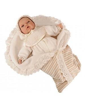 Muñeco Lucas, traje beig y mantita