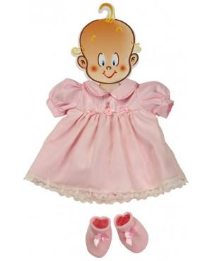 Vestido rosa para muñeca con peucos. 45-50 cms
