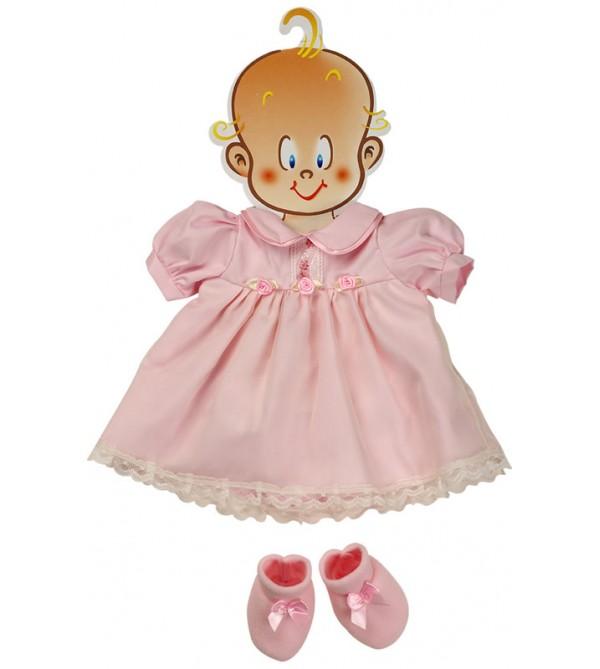 Vestido rosa con peucos. 45-50 cms