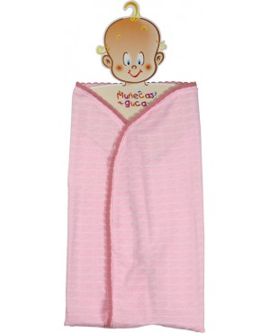 Manta rosa y blanca. 45-50 cms