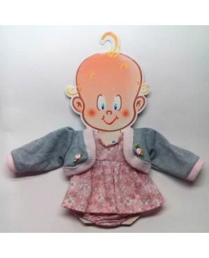 Vestido rosa con chaqueta gris. Recién nacido 36-38 cms