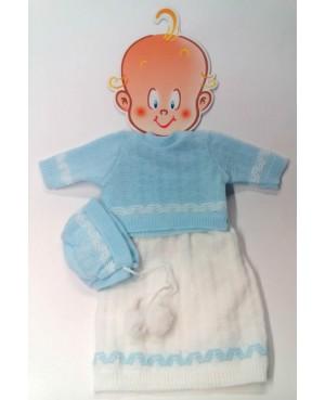 Faldón de lana azul y blanco. 36-38 cms