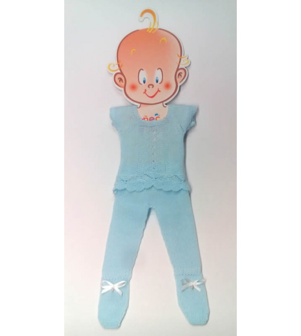 Traje perlé azul, pantalón y jersey. Recién nacido 36-38 cms