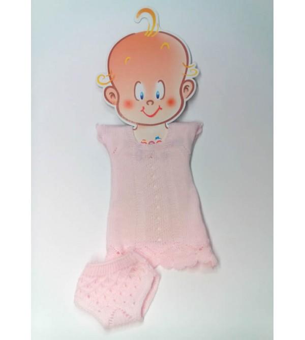 Traje perlé rosa, braguita y jersey. Recién nacido 36-38 cms