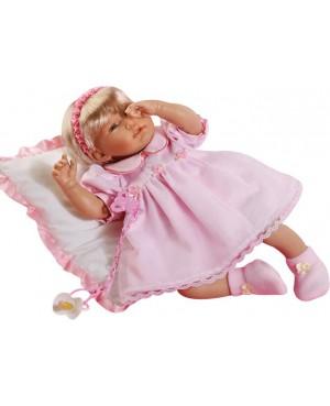 Muñeca Nadia, vestido rosa de piqué con peucos de golden rosa