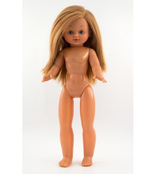 Muñeca Nany desnuda. 40 cms. Pelo rubio largo, liso