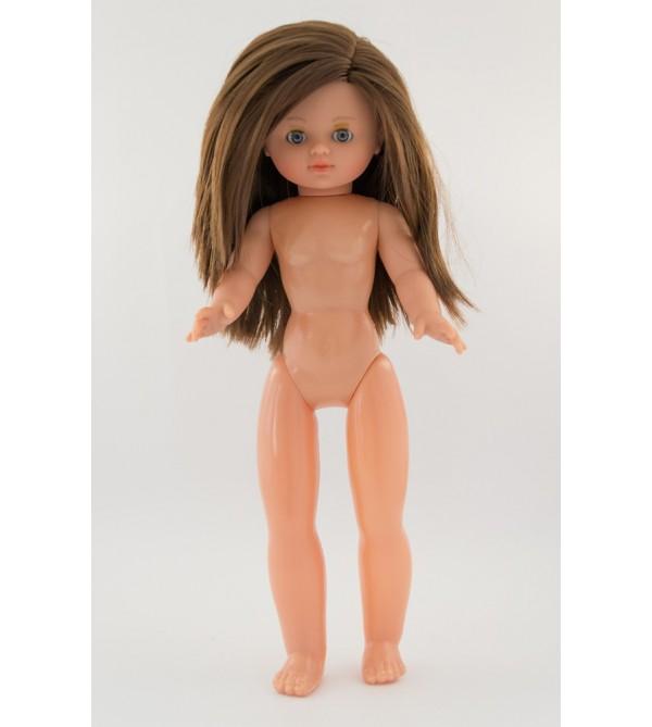 Muñeca Nany desnuda. 40 cms. Pelo moreno largo, liso