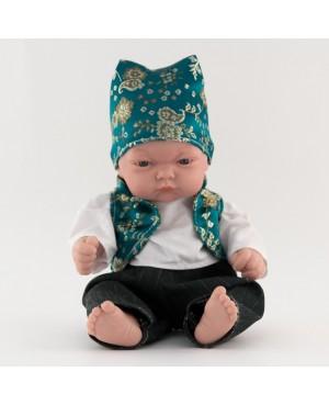 Muñeco bebé vestido con traje regional. Traje con chaleco verde botella  y pañoleta. 25 cms. Sin pelo