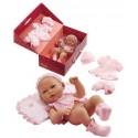 Muñeca recién nacida con pantalón rosa, calcetines y diadema. Con ropa