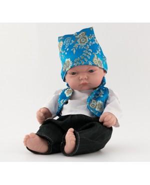 Muñeco bebé vestido con traje regional. Traje chaleco azul turquesa  y pañoleta. 25 cms. Sin pelo