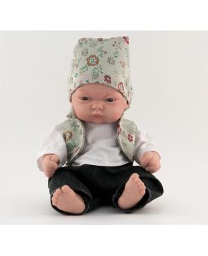 Muñeco bebé vestido con traje regional. Traje con chaleco verde pastel con flores y pañoleta. 25 cms. Sin pelo