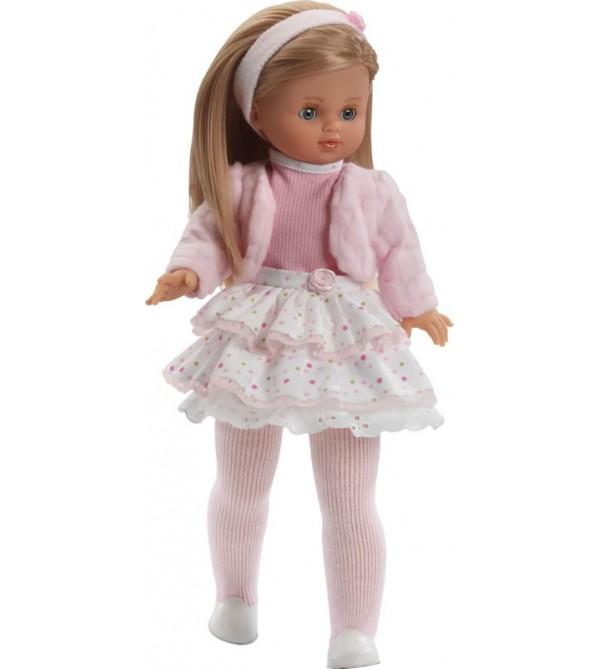 Muñeca Nany, jersey rosa, falda blanca de lunares y chaqueta rosa