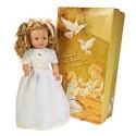 Muñeca María comunión vestido blanco y verde.50 cms