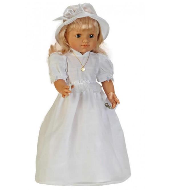 Muñeca María comunión vestido blanco con pamela.50cms