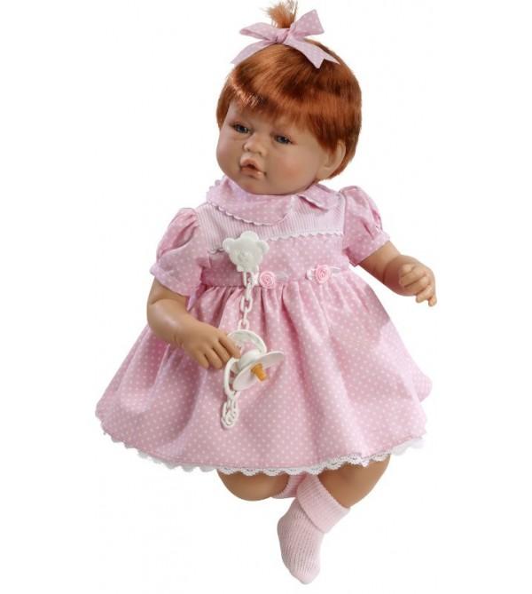 Muñeca Vera, pelirroja  con vestido rosa de lunares