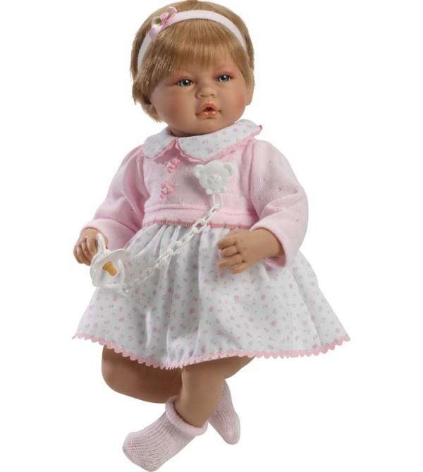 Muñeca Vera, vestido blanco de flores y jersey lana