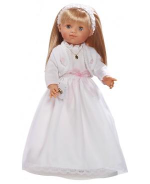 Muñeca María comunión vestido blanco y chaqueta blanca. 50 cms