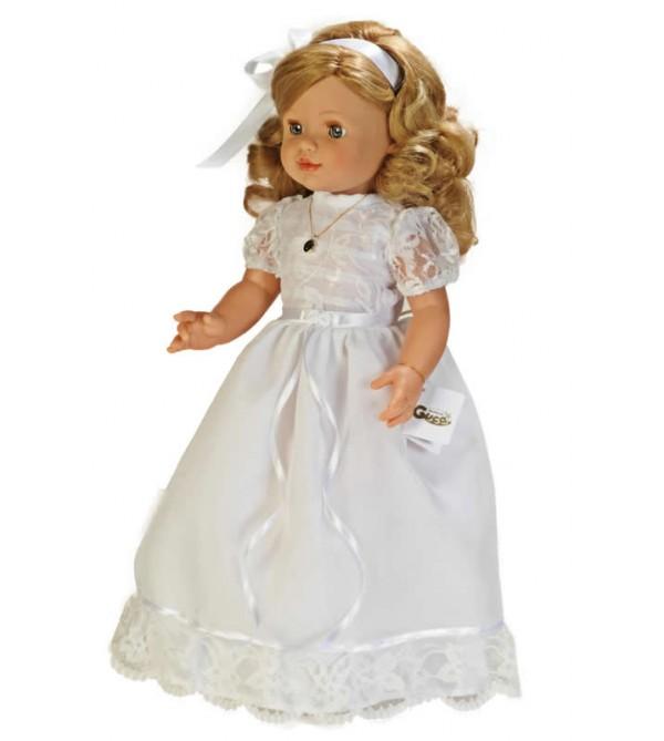 Muñeca María comunión vestido blanco con puntilla. 50 cms