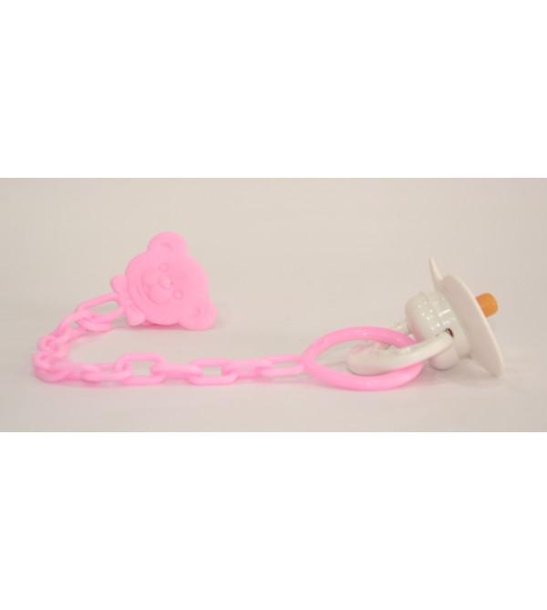 Cadena rosa y chupete blanco para muñeca.