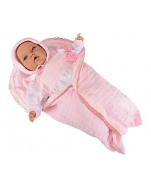 Muñeca Lucía, traje blanco y rosa y mantita rosa de lana. 50 cms