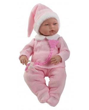 Muñeca Alba, pantalón, jersey y gorro rosa y blanco. 38 cms