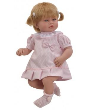 Muñeca Vera, vestido rosa. 46 cms. Con pelo