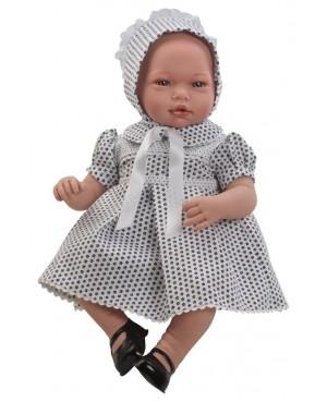 Muñeca Nadia, vestido azul marino con capota. Sin pelo. 46 cms