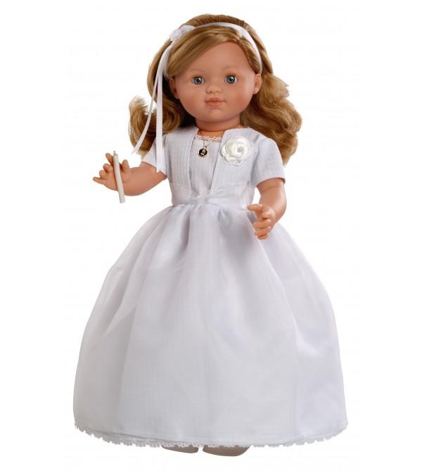Muñeca María comunión vestido blanco. 50 cms. Muñeca con mecanismo y vela.