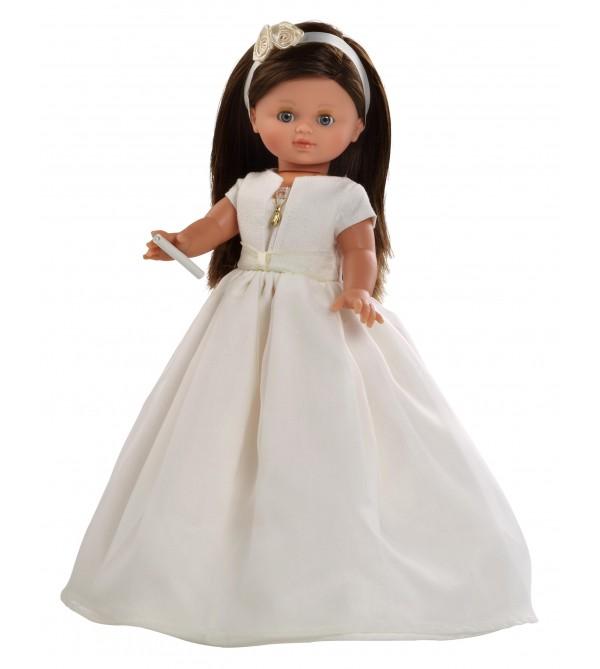 Muñeca Nany comunión vestido beig. 40 cms. Muñeca comunión  pelo moreno, con mecanismo y vela.