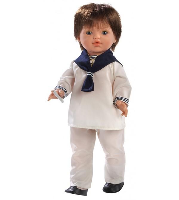 Muñeco Jacob Comunión, vestido con traje marinero. 45 cms. Pelo moreno. Muñeco comunión con mecanismo y vela.