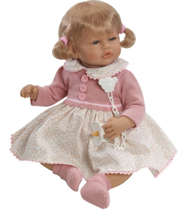 Muñeca Vera, vestido beig de flores y dos coletas
