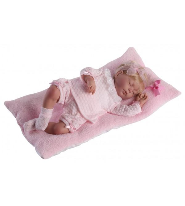 Muñeca Baby Reborn Valeria, traje de perlé rosa. Pelo rubio.46 cms. Peso 1,800kg. Tacto suave
