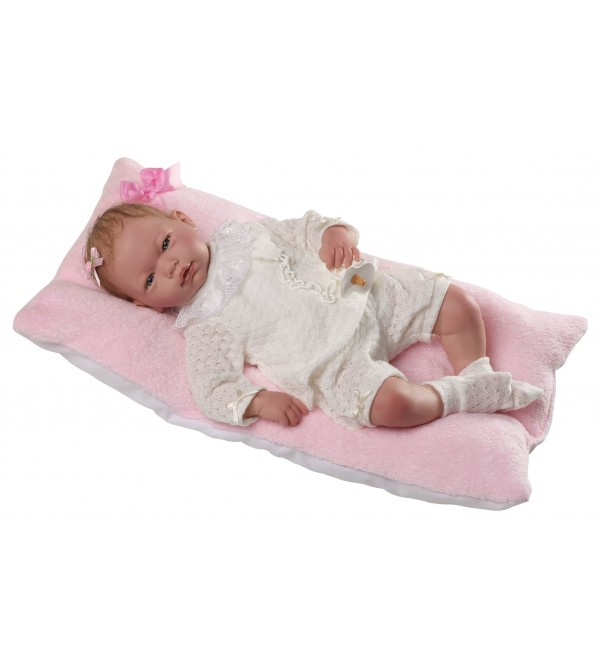 Muñeca Baby Reborn Alma, traje de perlé beig. Pelo especial (especial cuidado:leer descripción).46 cms. Peso 1,800kg.Tacto suave