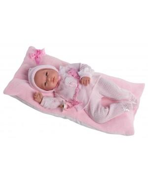 Muñeca Baby Reborn Andrea, traje y capota de perlé rosa.Sin pelo 46 cms. Peso 1,800kg. Tacto suave,. Cuerpo blandito.